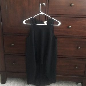 H&M black sheer pleat from high low top